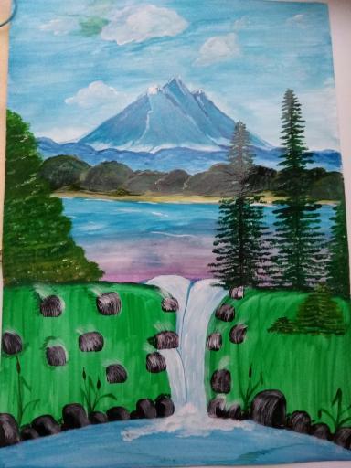 рис водопад